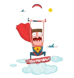 Kitesurfing superman trick cartoon vector image
