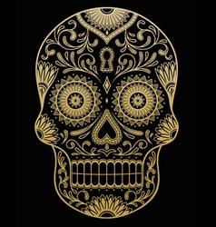 Ornate One Color Sugar Skull vector image vector image