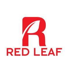 letter r red leaf logo vector image vector image