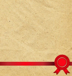 Old Paper With Red Rosette vector image vector image