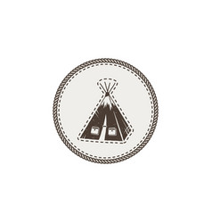 tent icon patch and sticker vintage hand drawn vector image vector image