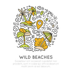 tropical wild beach - icon hand draw concept in vector image