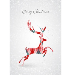 Merry Christmas retro abstract deer postal card vector image vector image