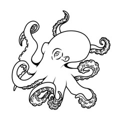 octopus isolated on white background vector image vector image