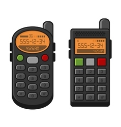 Old style vintage mobile phone set telephone with vector