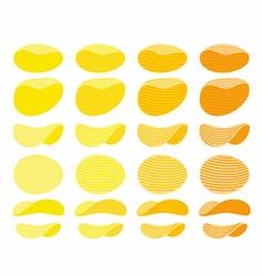 Set of potato chips Golden Orange and yellow wavy vector image vector image