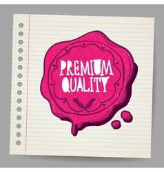 Doodle wax seal with premium quality sign vector image