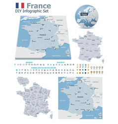 France maps with markers vector image vector image