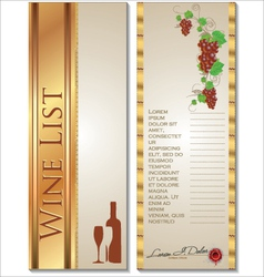 Wine list template vector image vector image