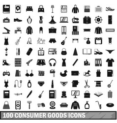 100 consumer goods icons set simple style vector