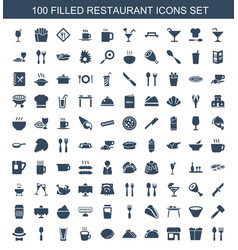 100 restaurant icons vector