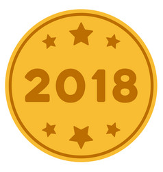 2018 year gold coin vector image