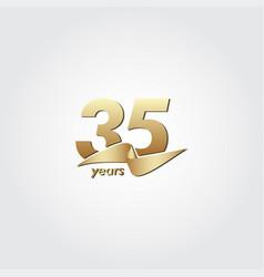35 years anniversary celebration gold ribbon vector
