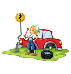 A female mechanic fixing the red broken car vector