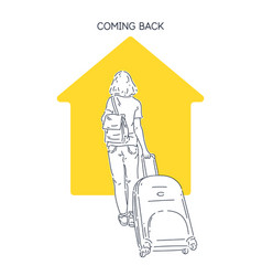 A girl with suitcase returns home after trip vector