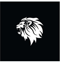 angry roaring lion head black and white logo vector image
