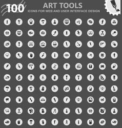 Art tools icons set vector