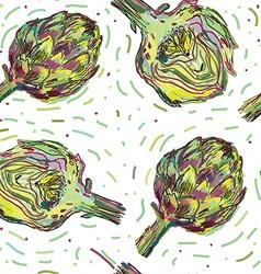 Artichoke seamless pattern vector image