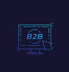 b2b business to business concept linear vector image
