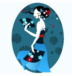 Beautiful girl in the Japanese dress with fan in vector image