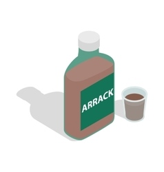 Bottle of arrack icon isometric 3d style vector