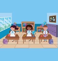 Boy and girls in school classroom design vector