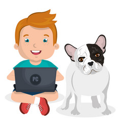 Boy with computer laptop and dog character vector