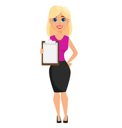 Business woman cartoon character cute blonde vector