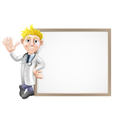 cartoon doctor and sign vector image