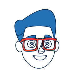 cartoon man face smiling wearing glasses and blue vector image