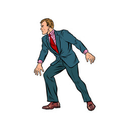 cautious businessman sneaks takes a step vector image