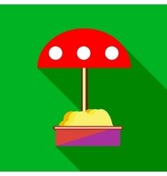 Childrens sandbox with red umbrella icon vector