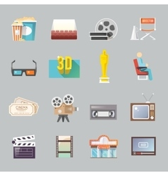 Cinema retro flat icons set vector
