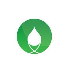 Circle eco waterdrop logo image vector