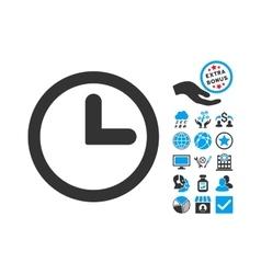Clock Flat Icon With Bonus vector image