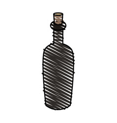 Color crayon stripe cartoon spa bottle with cork vector