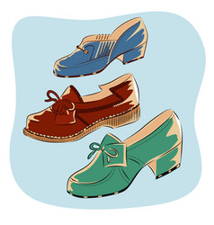colorful retro vintage shoes isolated vector image