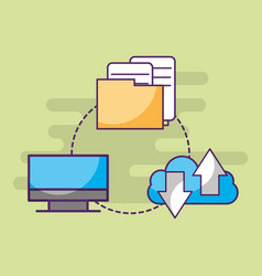 computer cloud storage data information documents vector image