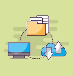 Computer cloud storage data information documents vector