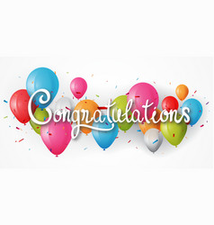 Congratulations banner with balloon vector