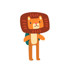 Cute lion standing with backpack smart animal vector