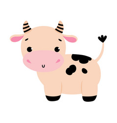 Cute little cow side view adorable funny farm vector