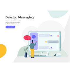 desktop messaging concept modern flat design vector image