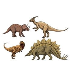 Dinosaurs characters set vector image