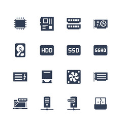 Electronics and gadgets icon set processor vector