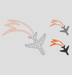 Falling airplane mesh wire frame model and vector