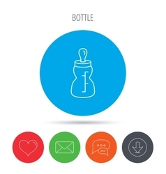 Feeding bottle icon Drink glass with pacifier vector image