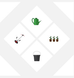 Flat icon dacha set of flowerpot bailer grass vector