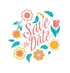 flower wedding invitation card save date vector image