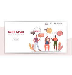 friends discussing daily news during meeting chat vector image